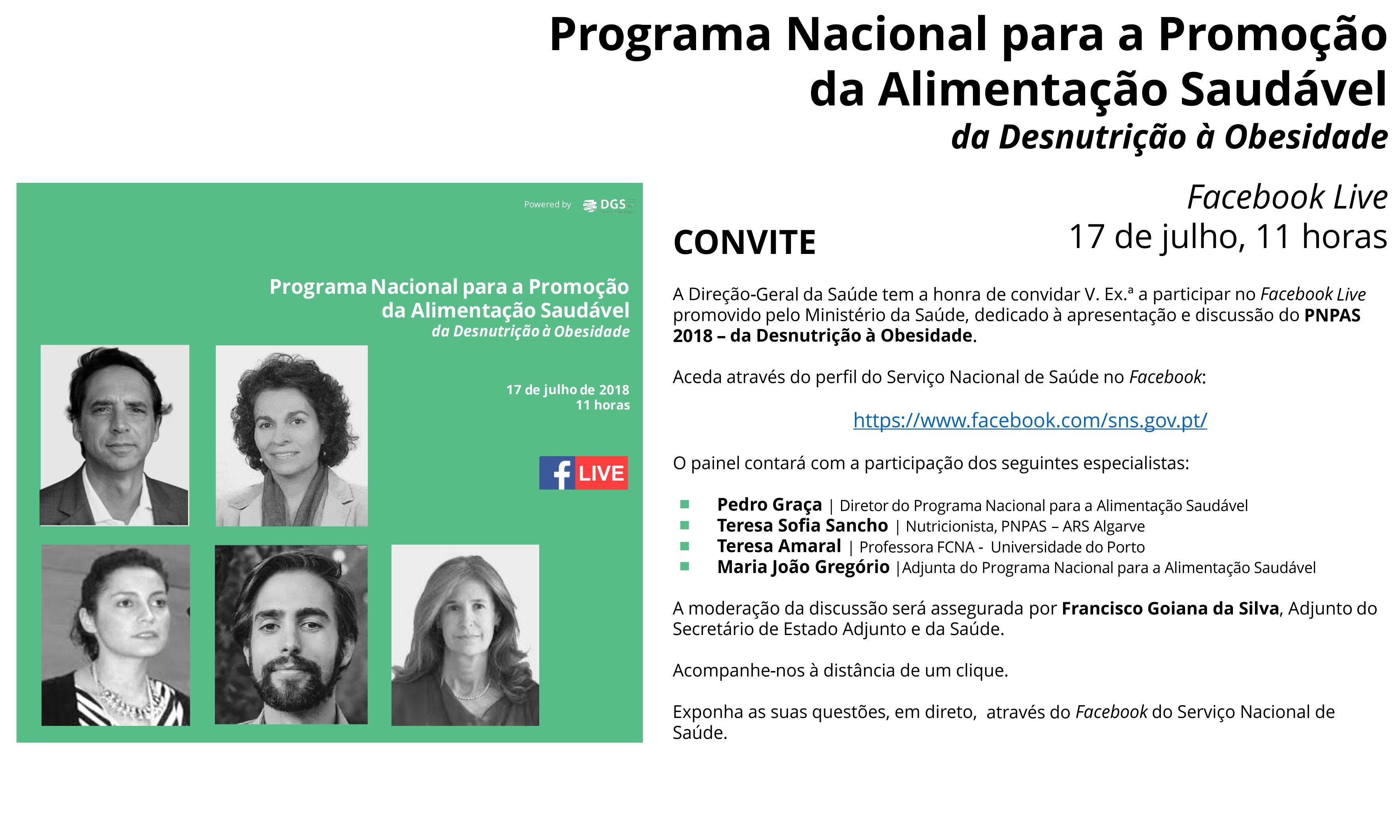 """PNPAS: """"Da desnutrição à obesidade"""" - Facebook Live 1"""