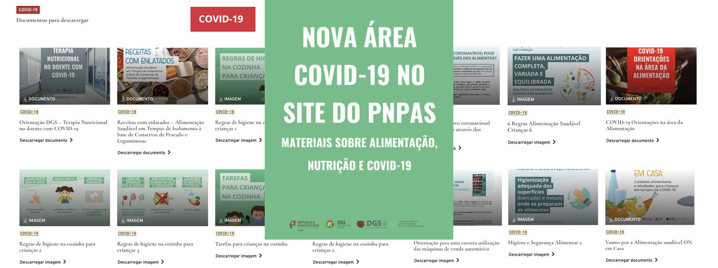 Área COVID-19 no site do PNPAS – Materiais sobre alimentação, nutrição e COVID-19